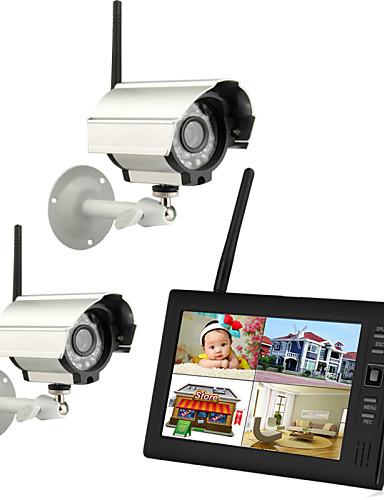 """billige Sikkerhet og overvåkning-trådløs 4ch quad dvr 2 nattkameraer med 7 """"tft-lcd skjerm hjemme sikkerhetssystem pal ntsc innebygd mikroovervåkning cctv system pal 628 * 582 ntsc 510 * 492"""