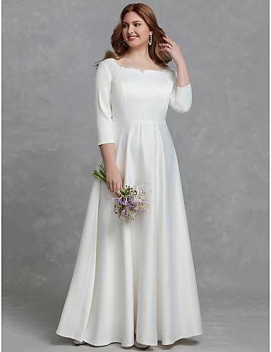 저렴한 피로연 드레스-A-라인 스퀘어 넥 바닥 길이 새틴 Made-To-Measure 웨딩 드레스 와 으로 LAN TING BRIDE®