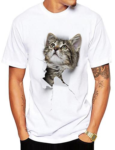 voordelige Best verkocht-Heren T-shirt dier Ronde hals Wit XL / Korte mouw