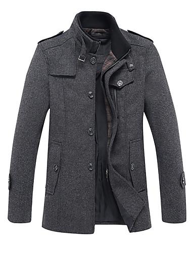 voordelige Herenjacks & jassen-Heren Dagelijks Street chic Winter Lang Jas, Effen Opstaand Lange mouw Polyester Grijs / Khaki
