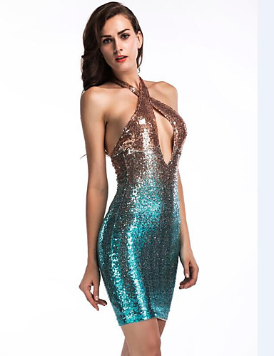 8938ce560e91 Sheath / Column Cross Front Short / Mini Stretch Satin Sparkle & Shine  Cocktail Party Dress
