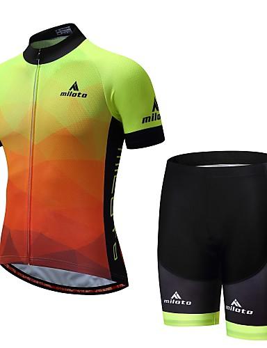 cheap Cycling Clothing-Miloto Men's Short Sleeve Cycling Jersey with Shorts - Luminous Bike Padded Shorts / Chamois Sports Mountain Bike MTB Road Bike Cycling Clothing Apparel