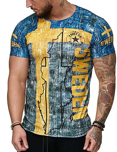 Veći konfekcijski brojevi Majica s rukavima Muškarci - Osnovni / Ulični šik Dnevno Pamuk Okrugli izrez Slim, Print Plava / Kratkih rukava