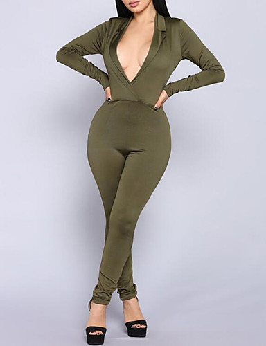 535c3aa82b Women s Daily Street chic Black Army Green Jumpsuit