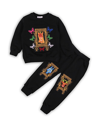 Dijete koje je tek prohodalo Dječaci Osnovni Print Dugih rukava Pamuk Komplet odjeće Crn