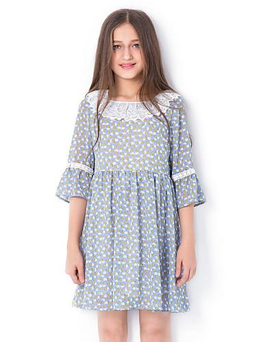 Kids Girls' Basic Daily Geometric Half Sleeve Dress Green