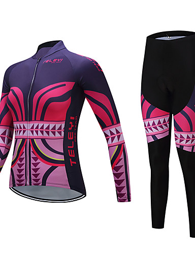 cheap Cycling Clothing-TELEYI Women's Long Sleeve Cycling Jersey with Tights - Rose Red Bike Clothing Suit Fleece Lining Breathable Winter Sports Polyester Reactive Print Mountain Bike MTB Road Bike Cycling Clothing Apparel