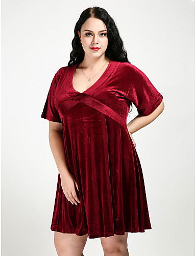Women\'s Velvet Plus Size Daily Street chic A Line Dress - Solid ...