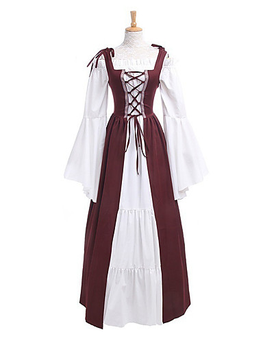 4fd44888650 Queen Retro   Vintage Medieval Renaissance Ball Gown Costume Women s Dress  Outfits Red   White