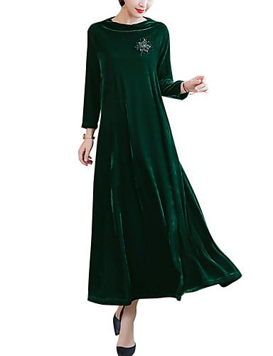 voordelige Maxi-jurken-Dames Grote maten Uitgaan Street chic Elegant Fluweel Ruimvallend Recht Wijd uitlopend Jurk - Effen Maxi