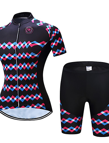 cheap Cycling Clothing-TELEYI Women's Short Sleeve Cycling Jersey with Shorts - Black Bike Clothing Suit Breathable Quick Dry Sweat-wicking Sports Polyester Scales Mountain Bike MTB Road Bike Cycling Clothing Apparel