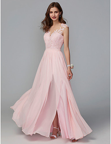bb8b27a11a4 A-Line Illusion Neck Floor Length Chiffon   Lace Bridesmaid Dress with Lace    Sash   Ribbon   Split Front by LAN TING BRIDE®