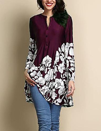 povoljno Ženske majice-Veći konfekcijski brojevi Bluza Žene Dnevno Cvjetni print Navy Plava