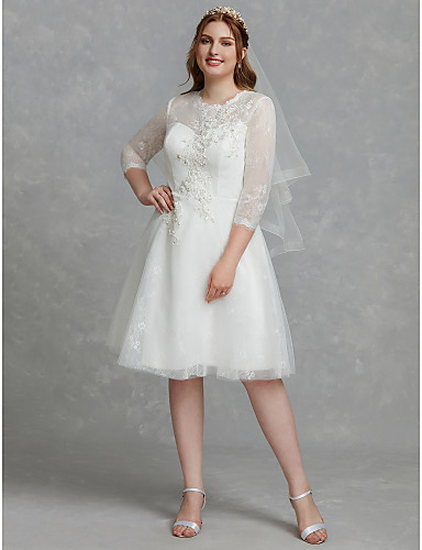 cheap Wedding Dresses-Plus Size A-Line Jewel Neck Knee Length Lace / Tulle Made-To-Measure Wedding Dresses with Beading / Lace / Lace Insert by LAN TING BRIDE® / Illusion Sleeve / Little White Dress