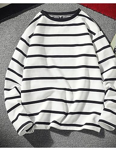 voordelige Heren T-shirts & tanktops-Heren Standaard T-shirt Katoen Gestreept Ronde hals Wit / Lange mouw