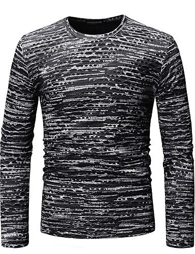 voordelige Heren T-shirts & tanktops-Heren Standaard Print T-shirt Katoen, Club Kleurenblok / Grafisch Ronde hals Zwart / Lange mouw