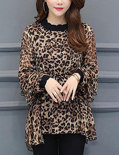 billige Topper til damer-Crew-hals Store størrelser T-skjorte Dame - Leopard, Trykt mønster Grunnleggende Lysebrun XXL
