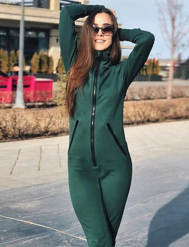 fd214136aa7 Women s Zipper Tracksuit Yoga Suit Green Sports Solid Color High Rise  Bodysuit Zumba Yoga Fitness Long Sleeve Activewear Power Flex High  Elasticity Slim   ...