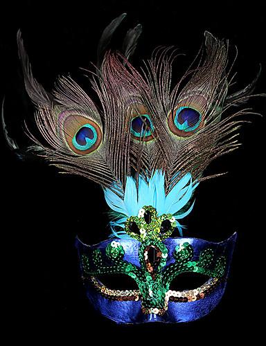 billige Halloweenkostymer-Prinsesse Maske / Venetiansk maske / Fjærmaske Voksne Fest / aften Dame Lilla Plastikker Fest Cosplay-tilbehør Halloween / Karneval / Maskerade kostymer / Halvmaske