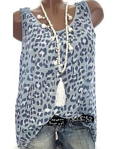 billige Dametopper-Store størrelser Bluse Dame - Geometrisk / Fargeblokk, Leopard Trykk / Trykt mønster Rosa / Vår / Sommer / Høst