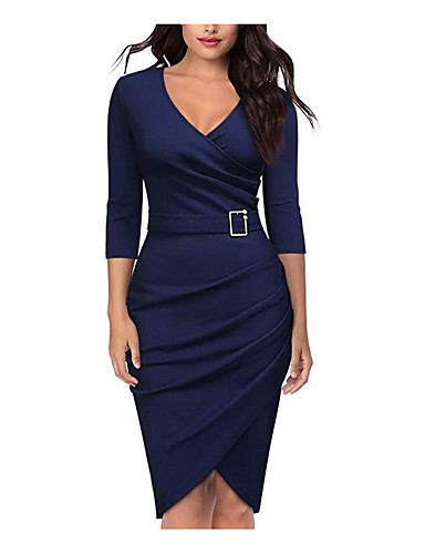073e2893 Women's Daily WorkWear Basic Bodycon Sheath Dress V Neck Cotton Red Navy  Blue Wine XL XXL XXXL