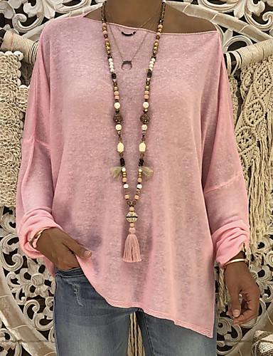 abordables Hauts pour Femmes-Tee-shirt Femme, Couleur Pleine / Géométrique Basique Une Epaule Rose Poudré Noir / Printemps / Eté / Automne