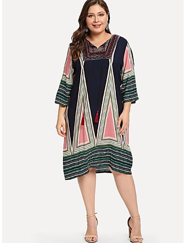 voordelige Grote maten jurken-Dames Grote maten Elegant Ruimvallend Recht Jurk - Geometrisch, Print V-hals Tot de knie / Sexy
