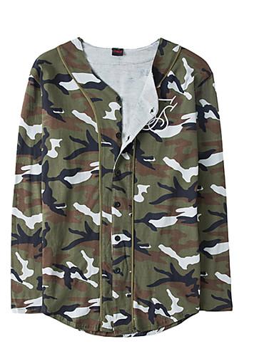 男性用 Tシャツ ベーシック Vネック カモフラージュ ブラウン L / 長袖