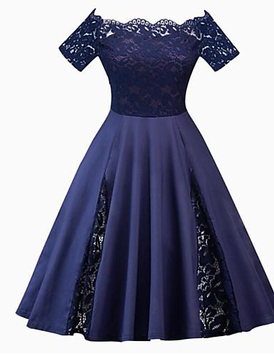 hesapli Vintage Kraliçesi-Kadın's Büyük Bedenler Parti Vintage 1950'ler A Şekilli Elbise - Solid, Dantel Düşük Omuz Midi / Sexy