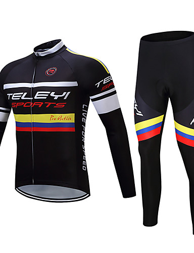 cheap Cycling Clothing-TELEYI Men's Long Sleeve Cycling Jersey with Tights - Black Bike Clothing Suit Fleece Lining Moisture Wicking Winter Sports Polyester Yarn Dyed Mountain Bike MTB Road Bike Cycling Clothing Apparel