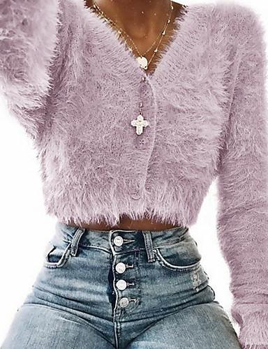 abordables Hauts pour Femmes-Tee-shirt Femme, Couleur Pleine Tricoté Basique V Profond Slim Rose Poudré Argent / Printemps / Automne / Hiver