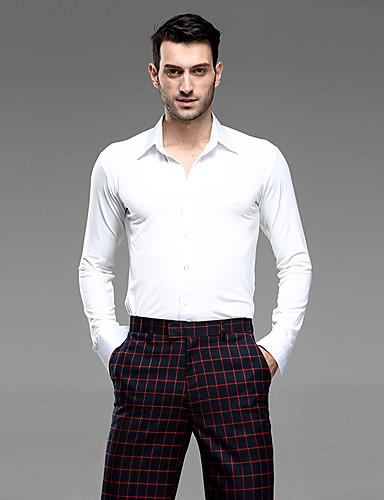 cheap New Arrivals-Latin Dance Tops Men's Performance Linen Ruching Long Sleeve Shirt