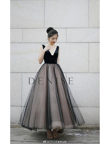 e4eb1842a11b A-Line V Neck Floor Length Tulle / Velvet Vintage Inspired Prom Dress with  Pleats by TS Couture® 7090477 2019 – $449.99