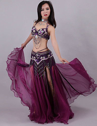 3c1b5b2113a3 Belly Dance Outfits Women's Training / Performance Polyester Crystals /  Rhinestones / Paillette Sleeveless Dropped Skirts / Bra / Waist Accessory