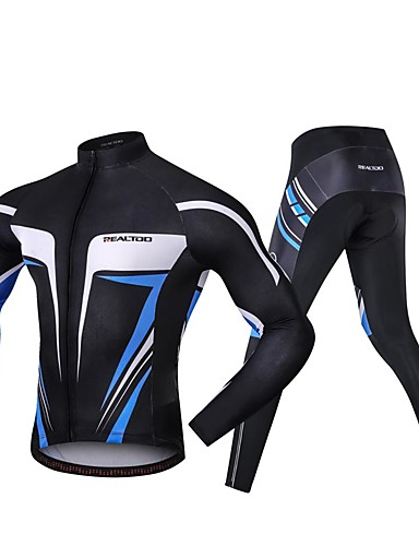 billige Sykkelklær-Realtoo Langermet Sykkeljersey med tights - Blå og svart Sykkel Spandex Klassisk / Mikroelastisk