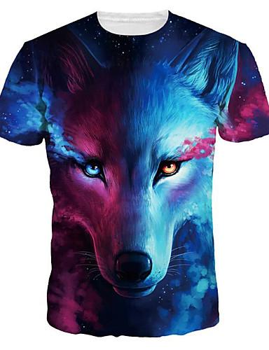 voordelige Heren T-shirts & tanktops-Heren Standaard / overdreven Print T-shirt dier Ronde hals Wolf blauw / Korte mouw / Zomer
