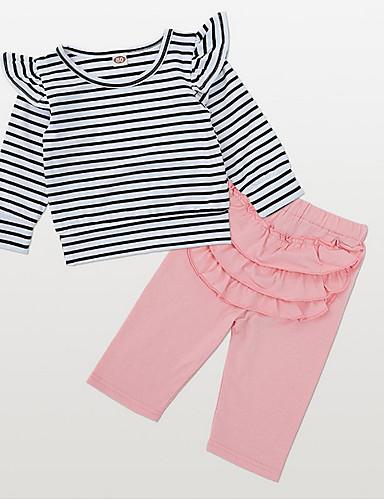 Μωρό Κοριτσίστικα Κομψό στυλ street Καθημερινά Ριγέ Μακρυμάνικο Κανονικό Πολυεστέρας Σετ Ρούχων Ανθισμένο Ροζ