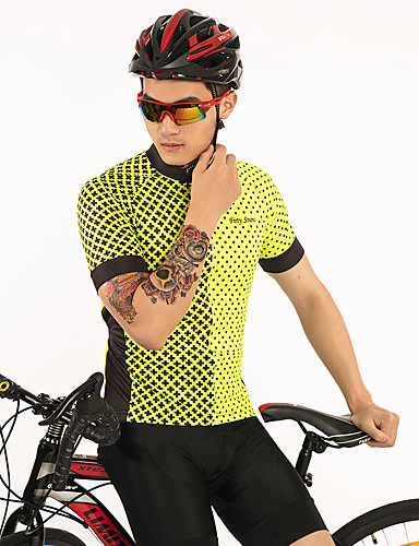 cheap Cycling Clothing-FirtySnow Men's Short Sleeve Cycling Jersey - Yellow Bike Jersey Top Breathable Moisture Wicking Quick Dry Sports Polyester Mountain Bike MTB Road Bike Cycling Clothing Apparel / Stretchy