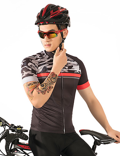 cheap Cycling Clothing-FirtySnow Men's Short Sleeve Cycling Jersey - Brown+Gray Bike Jersey Breathable Quick Dry Sports Polyester Mountain Bike MTB Road Bike Cycling Clothing Apparel / Stretchy / SBS Zipper