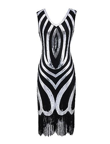 billige Kjoler til spesielle anledninger-Tube / kolonne V-hals Telang Paljetter Vintage Inspireret Cocktailfest Kjole med Perlearbeid / Paljett av LAN TING Express