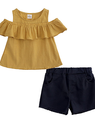 Παιδιά / Νήπιο Κοριτσίστικα Κομψό στυλ street Καθημερινά / Εξόδου Μονόχρωμο Αμάνικο Βαμβάκι / Πολυεστέρας Σετ Ρούχων Κίτρινο
