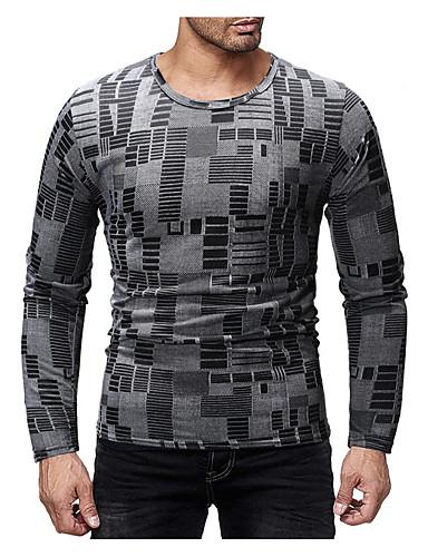 Hombre Chic de Calle Camiseta, Escote Redondo A Rayas Gris Oscuro L / Manga Larga