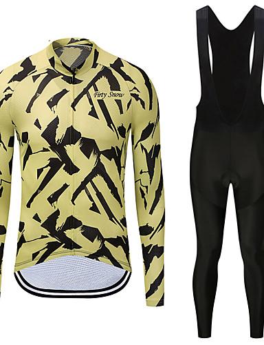 7e409fd6e FirtySnow Men s Long Sleeve Cycling Jersey with Bib Tights - White Black  Zebra Bike Clothing Suit Fleece Lining Quick Dry Winter Sports Polyester  Zebra ...