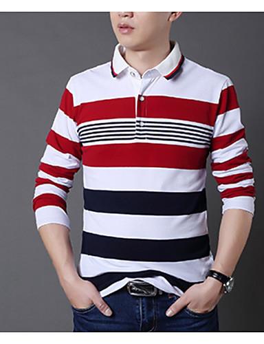 رخيصةأون مخطط-رجالي تيشرت قياس كبير قبعة القميص طباعة هندسي / ألوان متناوبة أحمر XXXL / كم طويل