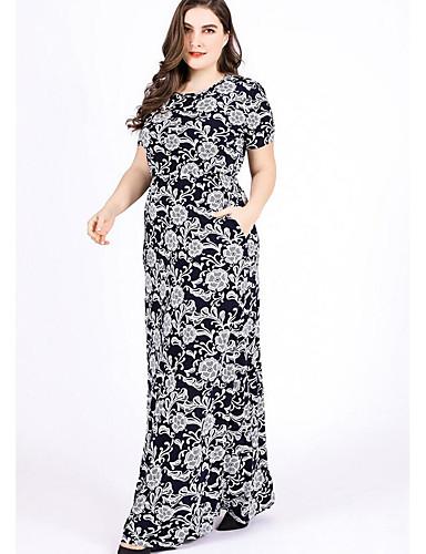 voordelige Grote maten jurken-Dames Slank Recht Jurk - Geometrisch, Print Maxi