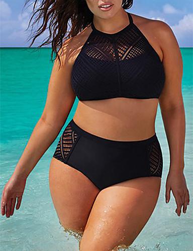povoljno Ženske majice-Žene Jednobojno Crn Bikini Kupaći kostimi - Jednobojni Jedna boja, Čipka XXXXL XXXXXL XXXXXXL Crn / Bez žice / Sexy