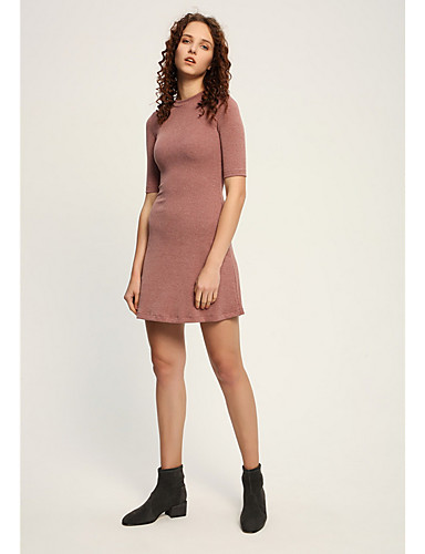 98a87a7b03b Γυναικεία Κομψό Πλεκτά Φόρεμα - Μονόχρωμο Πάνω από το Γόνατο
