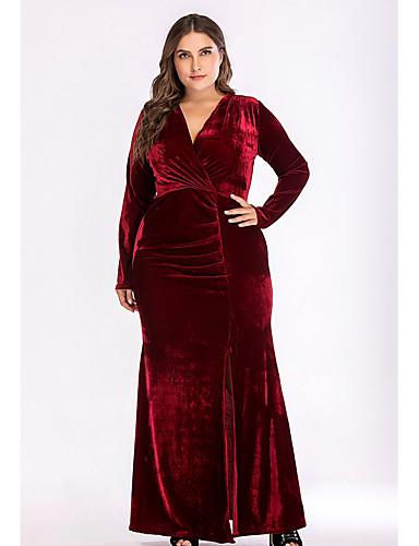 voordelige Grote maten jurken-Dames Standaard Schede Jurk - Effen, Split V-hals Maxi Hoge taille / Hoge taille  / Sexy