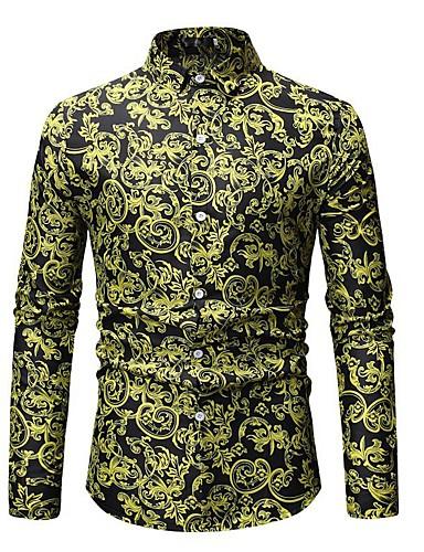 Herre - Blomstret / Farveblok Bomuld, Trykt mønster Basale Strand Skjorte Grøn XL / Langærmet