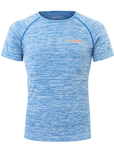 cheap Outdoor Clothing-SUMMITGLORY® Men's Short Sleeve Solid Color Hiking Tee shirt Outdoor Summer Breathable Quick Dry Seamless Tee / T-shirt Top POLY Chinlon Crew Neck Grey Royal Blue Camping / Hiking Fitness Jogging